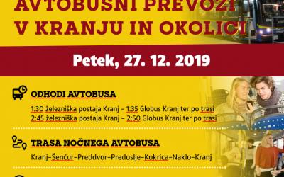 Brezplačni NOČNI avtobusni prevozi v Kranju in okolici-petek, 27.12.2019
